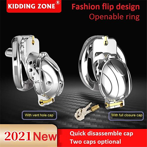 2021 New Arrival Metal Openable Ring Quick Disassemble Cap Flip Design Male Chastity Device Vent Hole Cage Adult Toy