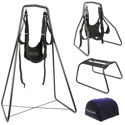 Toughe 4 in 1 Hammock Sex Swing Chair Pillow Nylon Adult Furniture Love Games Toy for Couples Fetish Bondage Restraints Set