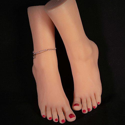 ZISHINE Foot Model Mannequin 40 EU Silicone Female Barefoot Fake For Stockings Art Nail Display Manicure Tarsel Human 4000