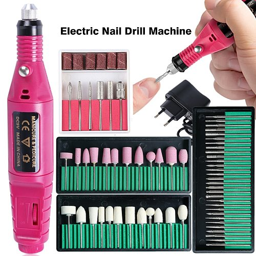 Professional Nail Drill Machine Electric Manicure Milling Cutter Set Nail Files Drill Bits Gel Polish Remover Tools TRHBS-011P-1