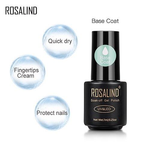 ROSALIND 7ml Base Coat Gel Nail Polish Nail Art Soak off Gel Lacquer Semi Vernis Permanent Transparent Multi-use UV Nail Gel