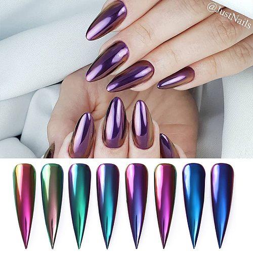 1 Box Chameleon Mirror Nail Glitters Powder Colorful Auroras Effect Nail Art Chrome Pigment Decoration 8 Colors Available
