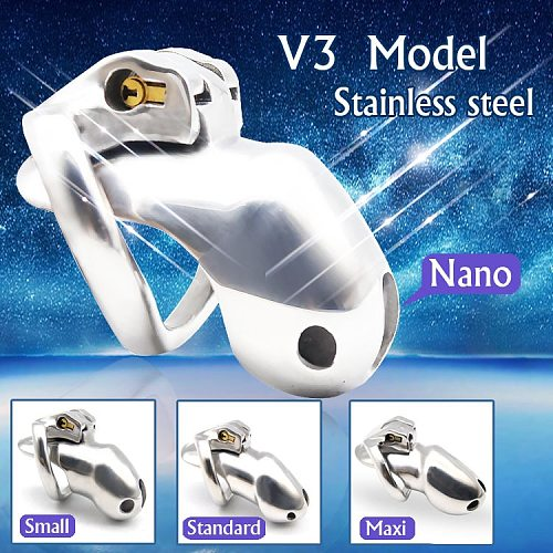NEW ARRIVE Nice Design 316 Stainless Steel HT V3 Handmade Chastity Device A380-SS..