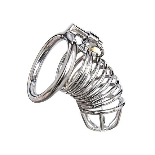 Stainless Steel Cock Cage PUT A RING ON IT METAL COCK CAGE 3.31 INCHES LONG