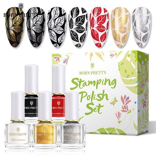 BORN PRETTY Stamping Nail Polish Set Gold Silver Color Nail Template Christmas Printing Polish Varnish 6ml Nail Art Decoration