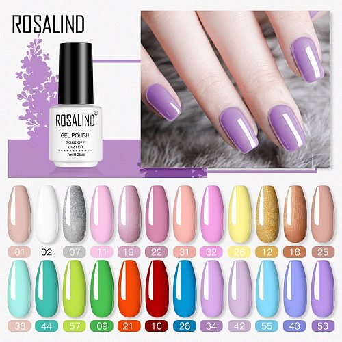 ROSALIND Gel Nail Polish Hybrid Varnishes Semi Permanent UV Nail Polish All For Manicure Soak Off Pure Color Gel Polish Lacquer