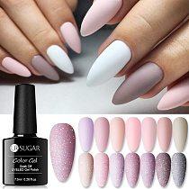 UR SUGAR Nude Glitter Gel Nail Polish Varnish Pink Rose Gold Shimmer Soak Off UV LED Nails Gel Varnish for Manicures Set 7.5ml