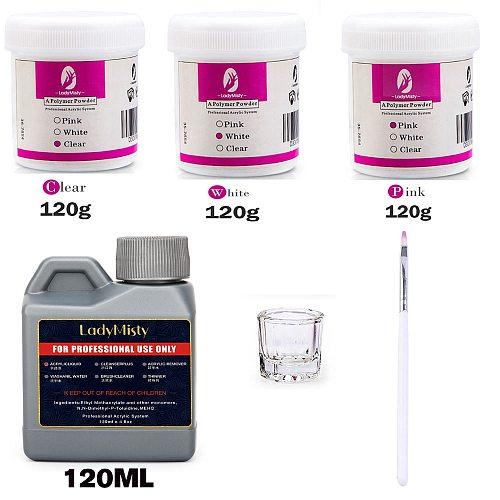 LadyMisty 120ml Liquid Acrylic Powder Professional Nail Art Salon Use Acrylic Powder Liquid 3D Nail Art Polymer Nail Manicure