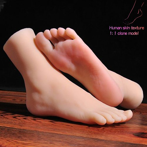 Lifelike Silicone 1:1 Female Flat feet Foot Model fake Manicure Movie Props Drawing Reflexology Massage Practice Art 3712