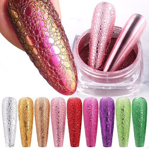 1box Bubble Nail Glitter Powder Magic Mirror Effect Chrome Pigment Dust Shining Pink Rose Gold Nail Art Decoration Powder LA1626