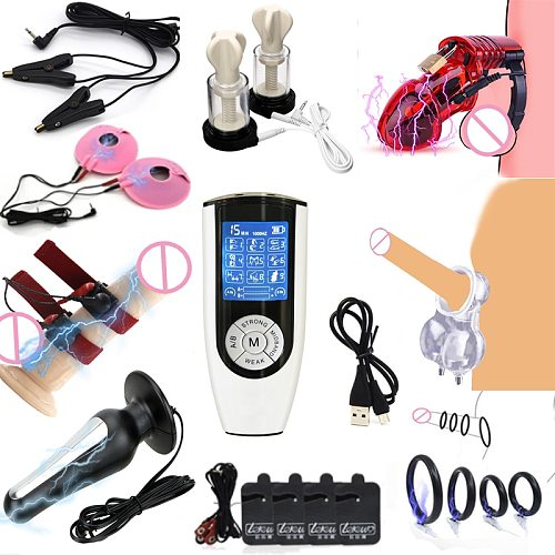 BDSM Electric Shock Anal Butt Plug Masturbator Sex Tools For Men Chastity Belt Cock Cage Penis Ring Nipple Clamp USB Charge Host