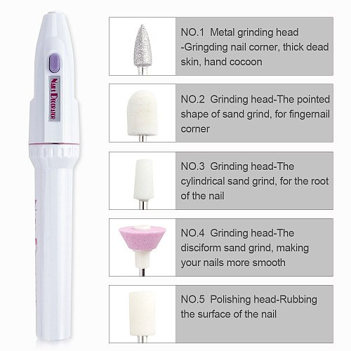 Electric Mini Nail Drill Pen Machine New 5 In 1 Manicure Pedicure Set Gel Polish Remover File Grinder Milling Cutter Accessory