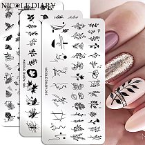 NICOLE DIARY Leaves Flower Stripe Design Stamping Plates Abstract Lady Face Nail Stamp Templates Leaf Floral Printing Stencil