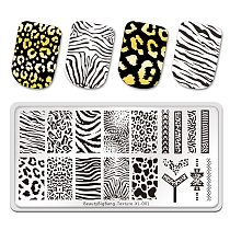 BeautyBigBang Stamping Plates Tiger Zebra Leopard Print Animal Image Stainless Steel Stencil Nail Art Template Texture XL-001