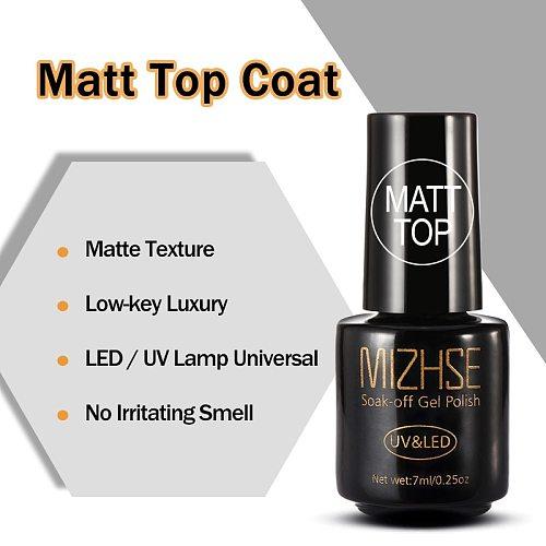 MIZHSE 7ML Matt Top Matt Nail Polish Lacquer Matte Gel Polish Top Gel Nail Mat Vernis Matte Top Coat UV Gel Nail Primer Top Gel