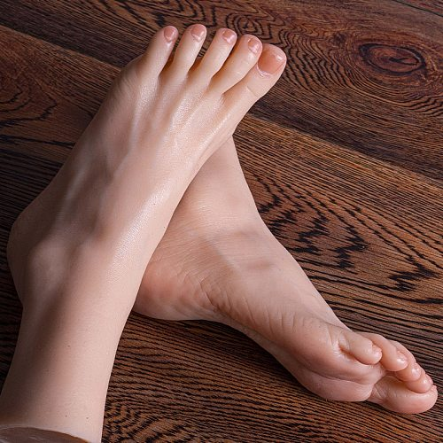Realistic Female Foot Model Liquid Silicone Sole wrinkles for foot fetish Drawing Practice Jewelry shooting Manicure TG36A
