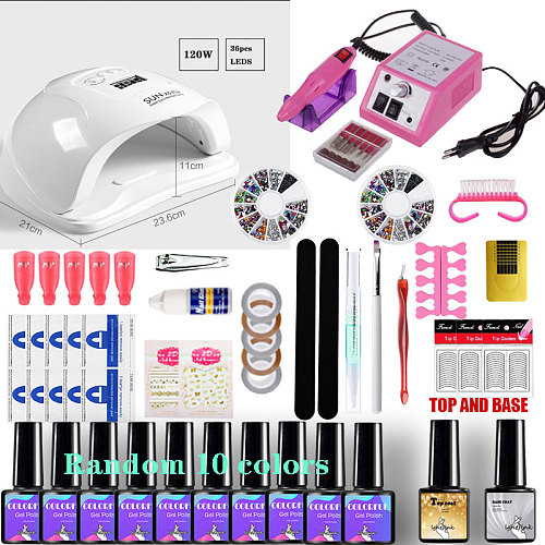 Nail Manicure Kit For Nail lamp Dryer Gel select 20/18//10 color Nail Polish Set &  Electric Nail Drill Nail Art Tools nail set