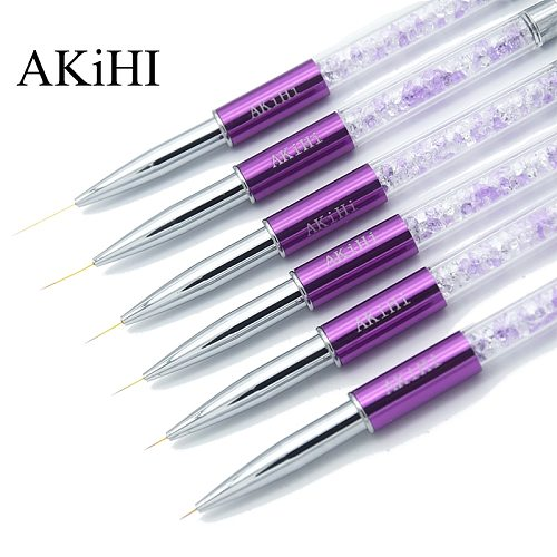AKiHi 5-20mm Nail Art Line Painting Brushes Crystal Acrylic Thin Liner Drawing Pen Manicure Tools UV Gel