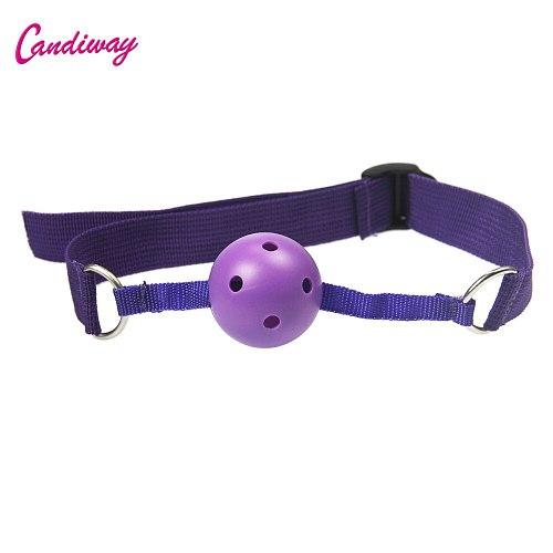 Candiway Adjustable Fetish Nylon Strap Hollow Mouth Ball Oral Gag BDSM Bondage Restraint Adult Sex Toys For Couple Sex Shop
