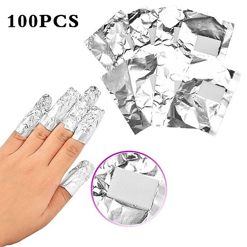 ELECOOL 100Pcs Aluminium Foil Nail Art Soak Off Acrylic Gel Polish Nail Removal Wraps Remover Easy Cleaner Nail Polish Gel TSLM1