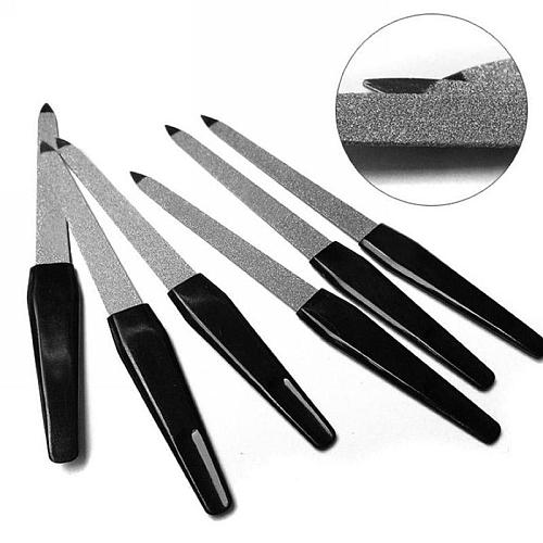 1or5 Pcs/set Black Handle Metal Double Sided Nail Files Strong Edge Manicure Grooming Beauty Pedicure Foot Care Tools