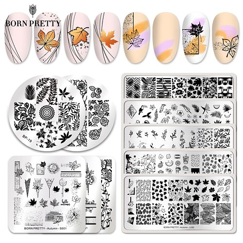 BORN PRETTY Nail Stamping Plates Maple Leaves Pictures Stainless Steel Autumn Simple Artist Stamp Template Stencils for Nails