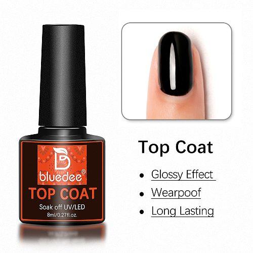 Bluedee No Wipe Top Coat Base Coat Primer UV Gel Nail Art Tips Manicure Gel Nail Polish Color Gel Polish esmalte semi permanente