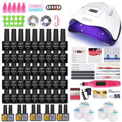 Manicure Set 114W LED Nail Lamp nail drying Nail Set 20000RPM Nail drill Machine 45/27/18/12 Colors UV Gel Nail Polish Kit Tools