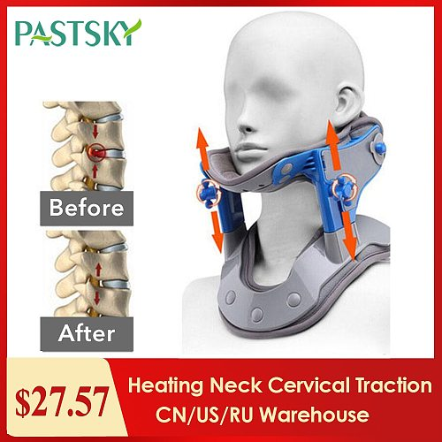 Heating Neck Cervical Traction Device Adjustable Collar Cervical Neck Stretcher Spine Corrector Neck Brace Support apparatus