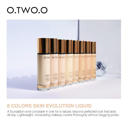 O.TWO.O 8 Colors Liquid Foundation Make Up Concealer Whitening Moisturizer Oil-control Waterproof Liquid Foundation Face Care