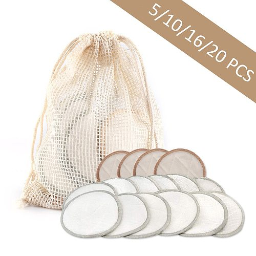 5/10/16/20pcs Bamboo Cotton Reusable Makeup Remover Pads Three Layers Washable Facial Cleansing Wipe Pads Makeup Beauty Tools