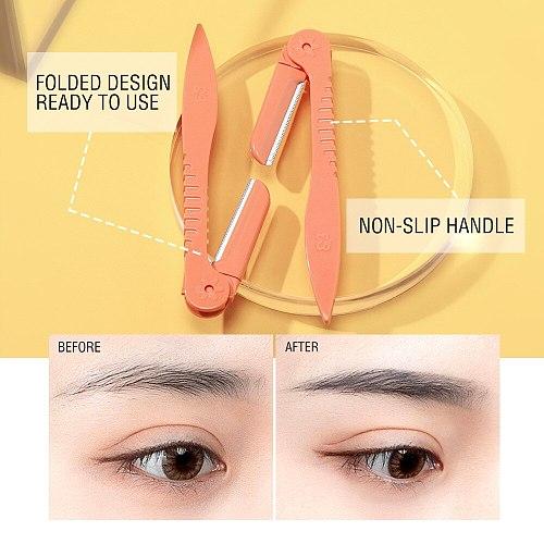 2pcs/set Eyebrow Trimmer Portable Eyebrow Razor Shaver Eye Brow Shaper Shaping Tool for Women Brows Epilator Face Hair Remover