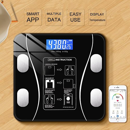 Body Fat Scale Smart Wireless Digital Bathroom Glass Weight Scale Body Composition Analyzer With Smartphone App Bluetooth