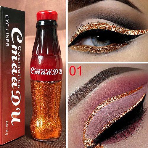Cmaadu 12 Colors Diamond Liquid Eyeshadow Tint Colorful Shimmer Cute Creative Eye Shadow Bottle Makeup Metallic Eyeshadow TSLM1
