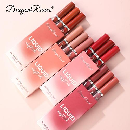 3PCS Sexy Lip Gloss Set Matte Velvet Lipstick Bean Paste Lip Glaze Moisturizer Long Lasting Lip Tint Cosmetic TSLM1