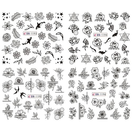 12pcs Mix Black Flower Nail Art Sticker Decals Hollow Floral Butterfly Water Transfer Slider Manicure Decoration SABN1189-1200