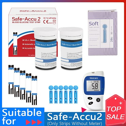 Sinocare Safe Accu2  50/100/200pcs blood glucose test strips with 50/100/200pcs Lancets Needles Blood Sugar Detection Glucose
