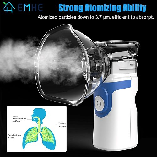 Handheld Portable Nebulizer Medical Devices Humidifier Inhaler Atomization Nebulizer Asthma Silent Inhaler for Inhalation Adulto