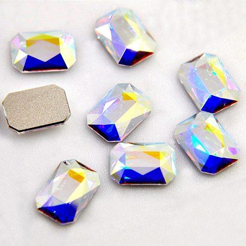 20pcs Nail Rhinestones Rectangle Flat Back Crystal Shiny 3D Strass Gem Stone Manicure Nail Art Decoration Charms Jewelry