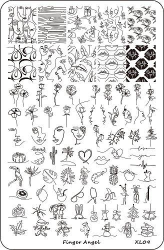 9.5X15 Abstract/ woman/ face Nail Stamping Plates Image Painting Nail Art Stencil Template Nail Stamp Tools nail decal templates