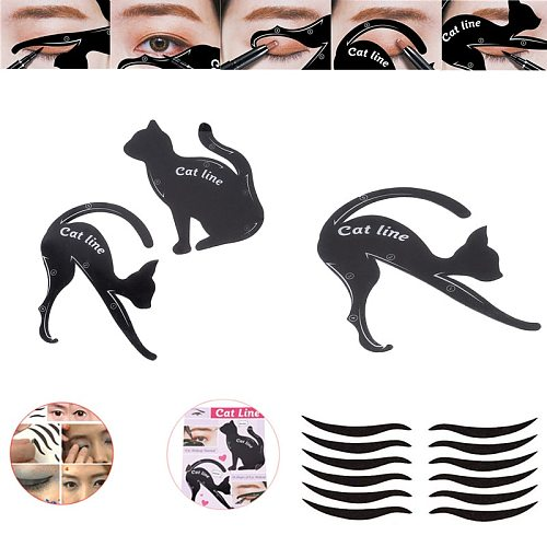 Makeup Tools New Eyebrow Stencils Cat Eyeliner Model Stencil Kit Guide Template Maquiagem Double Wing Eye Shadow Frame Card