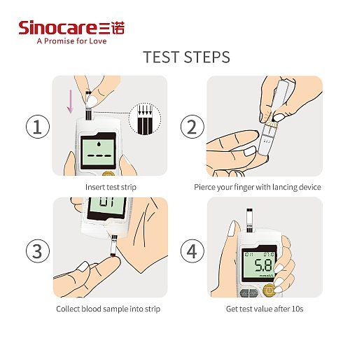 50/100/150/300/400PCS Sinocare Sannuo GA-3 Blood Glucose Bottled Test Strips and Lancets for GA-3 Only Diabetes