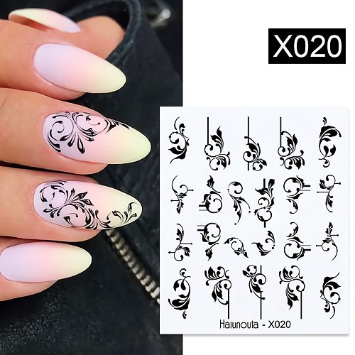 36 Styles Nail Sticker Black Flower/Lace/Letter Gel Polish Slider Accessories Nail Art Decals