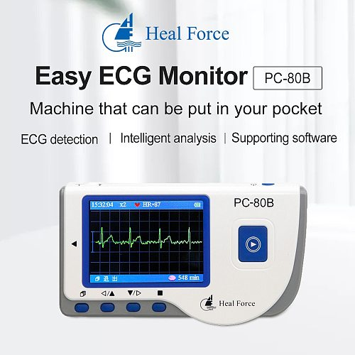 Heal Force Professional Easy ECG Monitor, Household Heart Health EKG Monitor Handheld Portable USB Continuous Measuring Function