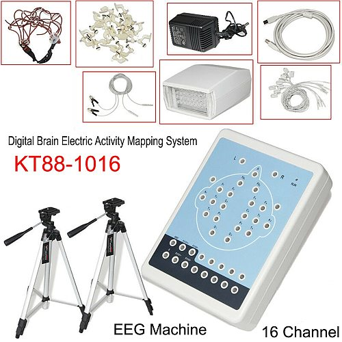 KT88-1016 16 Channel EEG Machine Digital Brain Electric Activity Mapping Systems PC Auto-Analysis Brain Mapping Scanner