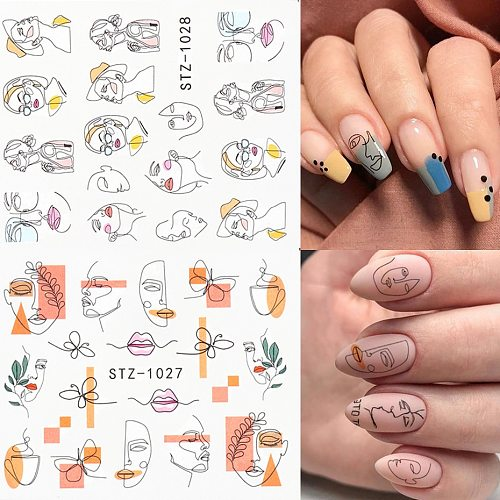 Abstract Face Nail Stickers Black Animal Decals Foils Water Transfer Sliders For Nails Art Decorations Manicure TRSTZ1018-1033-1