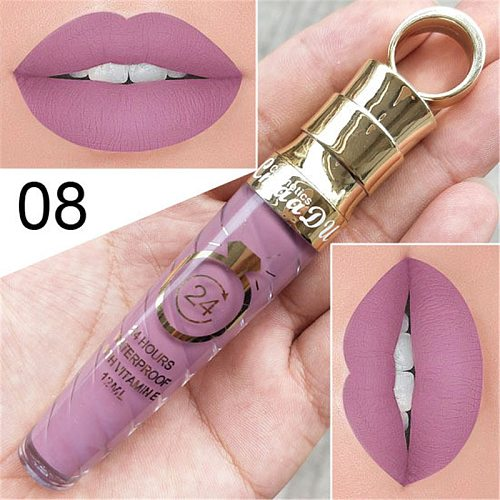 New!!Make Up Lips Matte Liquid Lipstick Waterproof Long Lasting Sexy Pigment Nude Glitter Style Lip Gloss Beauty Red Lip Tint