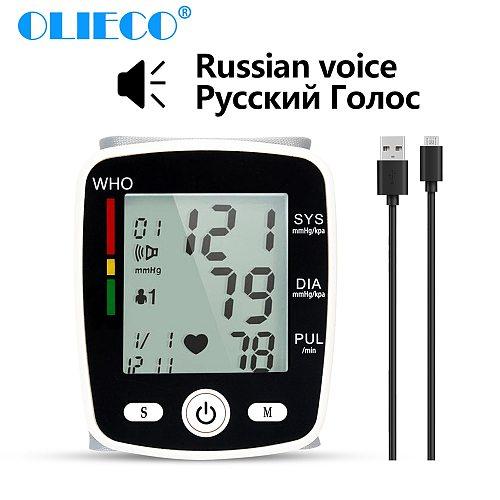 OLIECO USB Rechargeable Automatic Digital Wrist Blood Pressure Monitor Russian English Voice Electric Tonometer Sphygmomanom PR