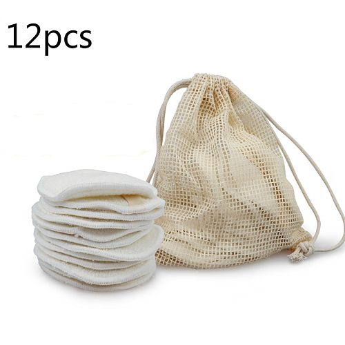12PC Reusable Cotton Pads Makeup Remover Pads Washable Round Bamboo Make Up Pads Cloth Nursing Pads Skin Care Tool Skin Cleaning