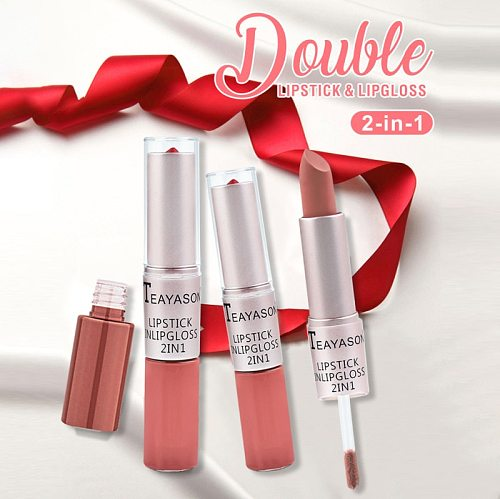 12 Colors Double End Matte Lipstick Wateproof Long Lasting Pigment Eyeshadow Blush Red Lipgloss Lips Tint Makeup Cosmetics TSLM1